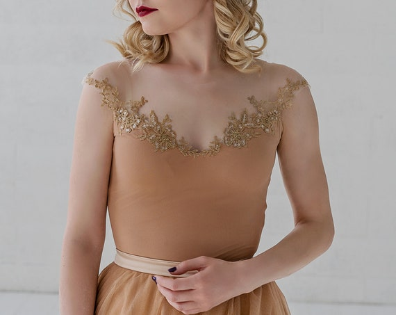 Millaray - off the shoulder illusion bridal bodysuit with gold details / nude bridal bodysuit / tan color bridal top / sparkly details top