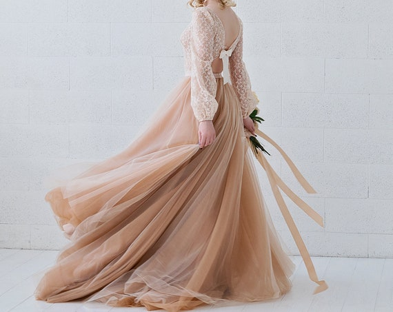 Soraya - poet sleeves open back wedding dress