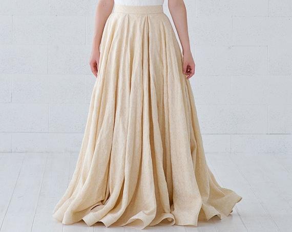 Gilda - gold linen jacquard bridal skirt