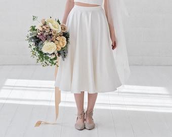Josephine -  tea length bridal skirt / pin up bridal skirt / rockabilly bridal skirt / 50s wedding skirt / short white or ivory bridal skirt