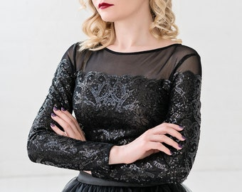 BBorealis - sparkly sequined bridal top in black or ivory