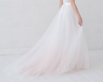 Helene - very romantic bridal tulle skirt with a subtle dip dyed ombre bottom