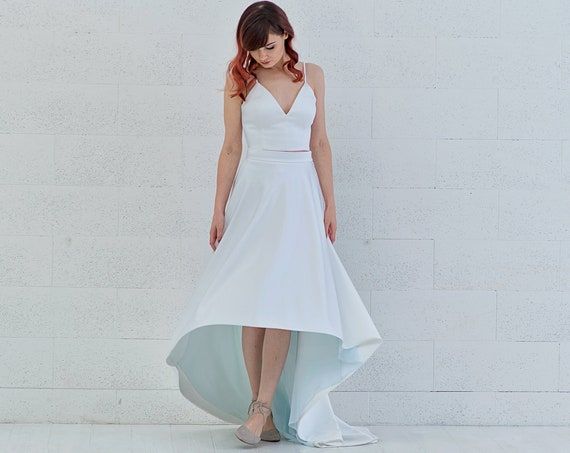 Vivian - simple high low crop top wedding dress with a touch of color