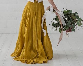 Penelope - boho mustard bridal skirt