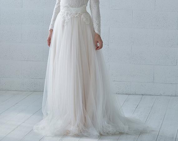 Kyra -  bridal tulle skirt with beaded waistband