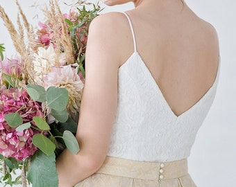 Gilda - front and back V neck bridal top with spaghetti straps