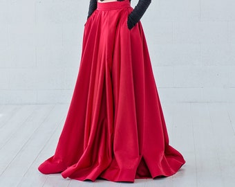 Petra - red satin bridal skirt / bold color wedding skirt  / high low wedding skirt / alternative red wedding skirt / satin bridal skirt