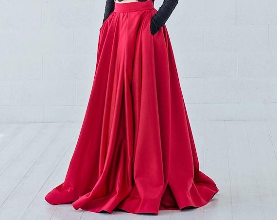 Petra - red satin bridal skirt