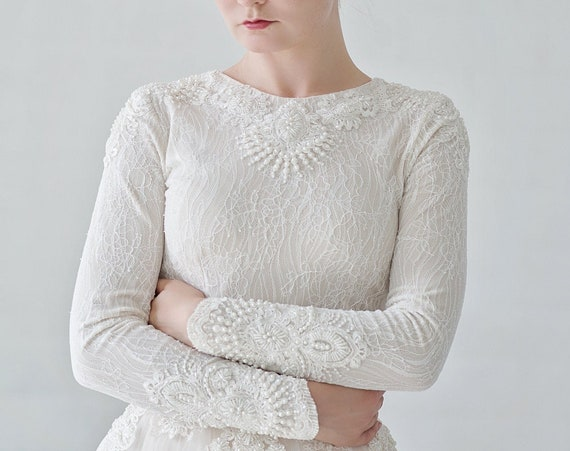 Kyra - luxury beaded winter wedding dress with long sleeves