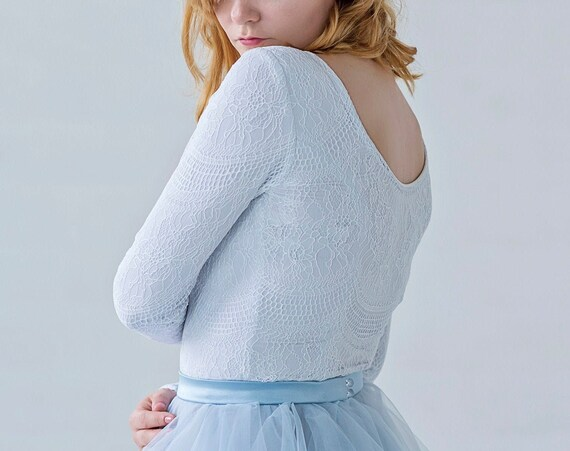 Aella - long sleeved bridal top in white and pale dusty blue