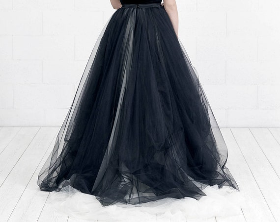 READY TO SHIP: black bridal skirt / alternative wedding skirt / goth bridal separates / goth wedding dress / black wedding dress / us size 6