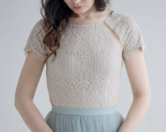 Dolores - lace bodysuit / rustic lace top / cream lace top / bridal bodysuit / wedding top / country wedding top / bridal separates