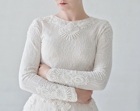 Kyra - luxury beaded winter wedding dress with long sleeves