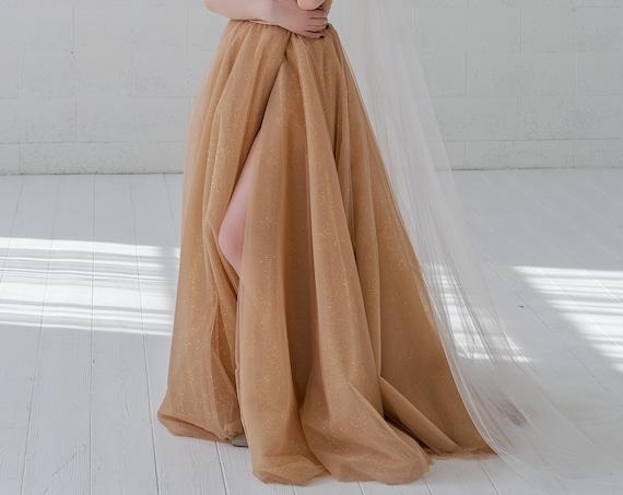 Millaray - sparkly gold glitter wedding skirt / nude bridal skirt with gold glitter / sparkling wedding skirt with an optional slit