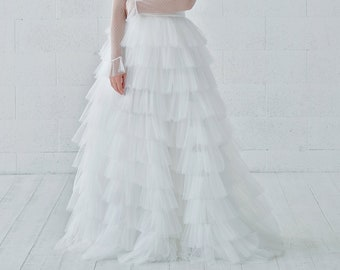 Octavia - tiered and ruffled tulle bridal skirt