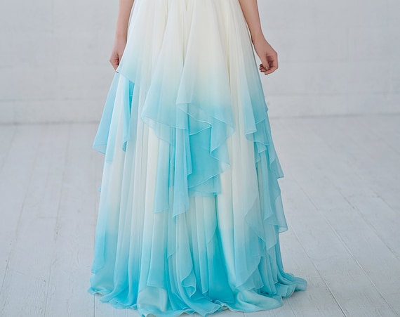 READY TO SHIP ombre chiffon bridal skirt / size us 0-2 / ombre dip dyed flowing chiffon wedding skirt with irregular whimsical hemline