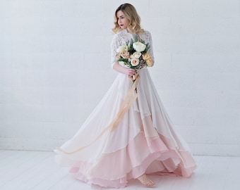 Xylona - bohemian wedding dress / chiffon wedding dress / bridal separates / high low  wedding dress / flowing bridal gown in wrap design