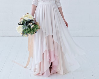 Xylona - high low chiffon bridal skirt in wrap style / layered and very flowing chiffon wedding skirt / bohemian bridal skirt / boho bride