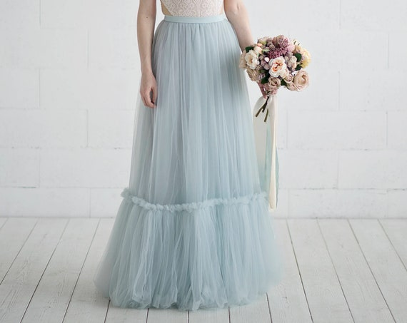 READY TO SHIP: dusty ice blue southwestern style A line bridal skirt with ruffle seam detail