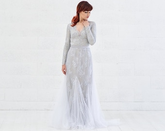 Indra - lace mermaid wedding dress with tulle bottom