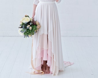 Xylona - high low chiffon bridal skirt in wrap style