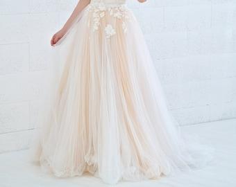 Dahlia - 3D floral wedding skirt