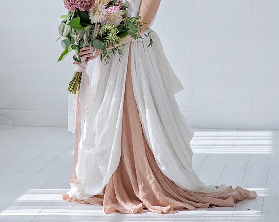 Brianna - bohemian bridal skirt in natural linen