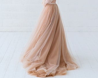 Soraya - voluminous dual color wedding skirt