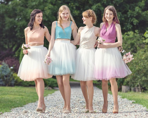 Blushing Ballerina: hand dyed ombre tulle skirt / ladies tulle skirt / tulle bridesmaid skirt / gradient skirt / adult tulle skirt
