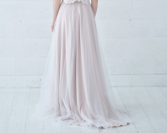 Zahara - wedding skirt in champagne colored chiffon and ivory tulle, perfect for beach and destination brides, lightweight and flowing