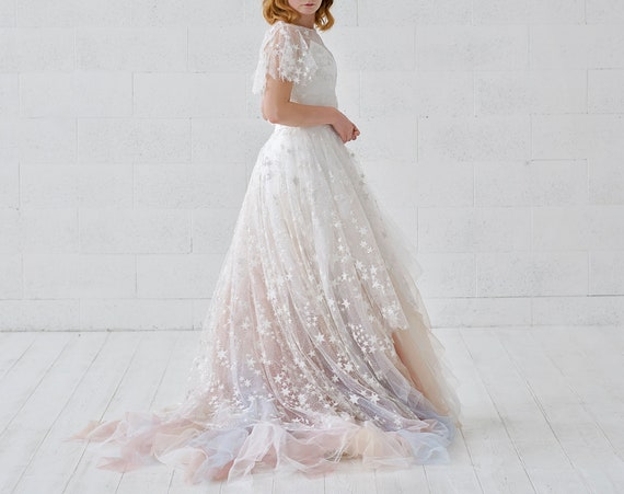Celeste - detachable bridal overskirt with stars