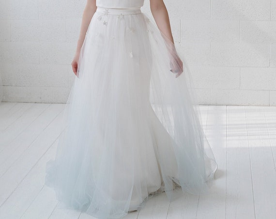 Nova - bridal overskirt with stars appliques and a touch of color