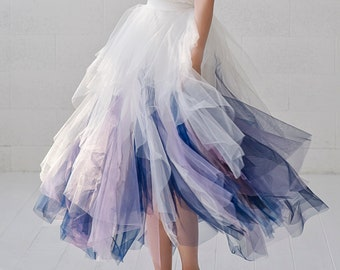 Galaxia - whimsical short tulle skirt / bridesmaids tulle skirt / tea length bridal skirt / galaxy themed tulle skirt / cosmic tulle skirt