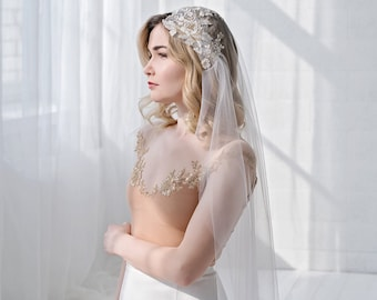 Millaray - juliet cap veil in ivory with lace applique of shiny gold lace details and translucent sequins