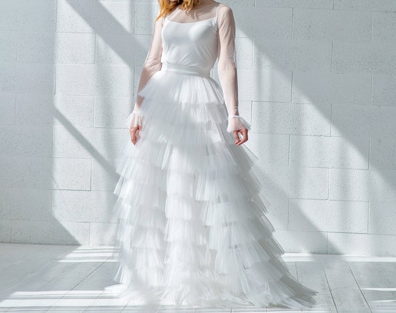 Octavia - tiered tulle wedding dress with flared sleeves