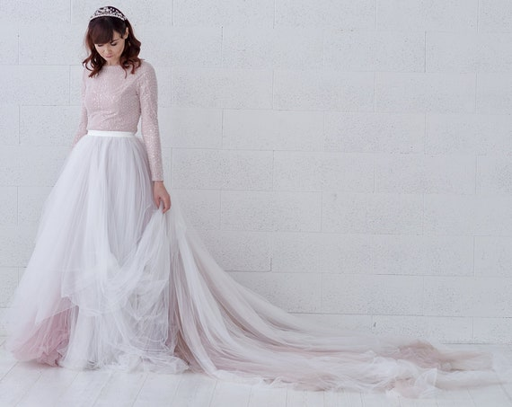 Raina - ombre tulle wedding dress / beaded wedding dress / sparkly ombre bridal gown / long sleeves wedding dress / modest wedding dress