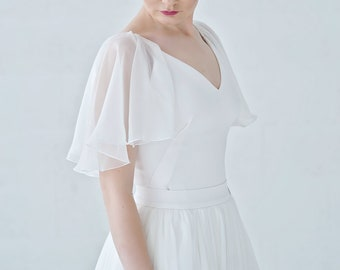 Tulia - cape sleeve wedding bodysuit with V neckline