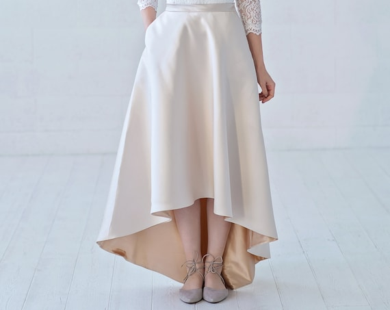 Una - high low wedding skirt / gold bridal skirt / champagne bridal separates / mikado wedding skirt / slim fit bridal skirt with pockets