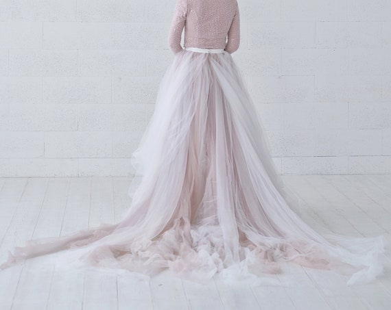 Raina - ombre bridal skirt / tulle wedding skirt / tulle bridal skirt / dusty pink bridal skirt / ombre dyed tulle skirt with a long train