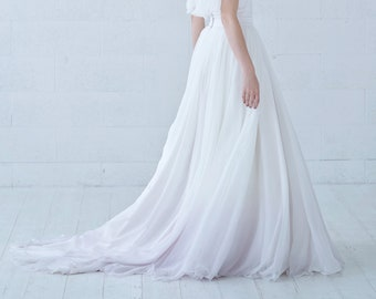 Tulia - ombre dip dyed flowing chiffon wedding skirt with pockets and a long train