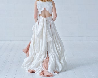 Brianna - bohemian crop top wedding dress in linen and cotton