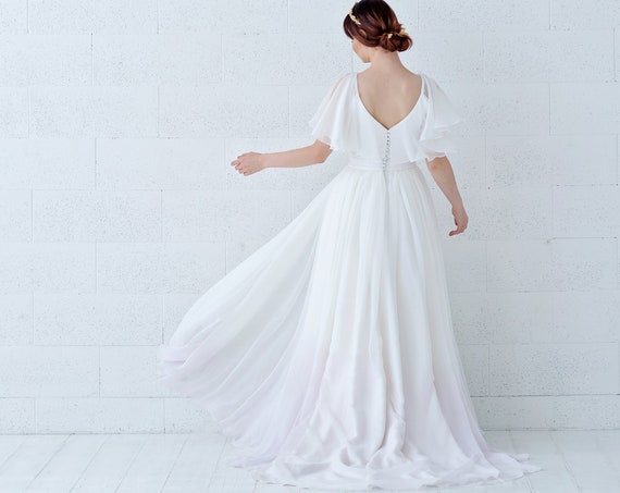 Tulia- cape sleeves chiffon wedding dress with ombre dip dyed bottom and pockets