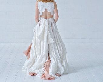 Brianna - bohemian crop top wedding dress in linen and cotton