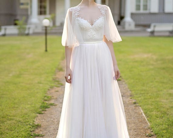Grace - flutter sleeve wedding dress