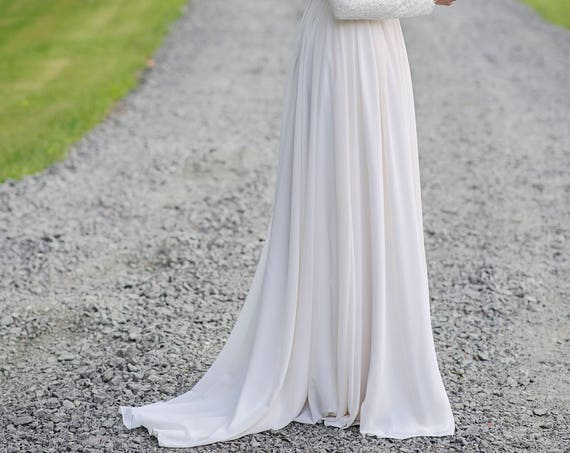 Laurel -  chiffon bridal skirt with a train