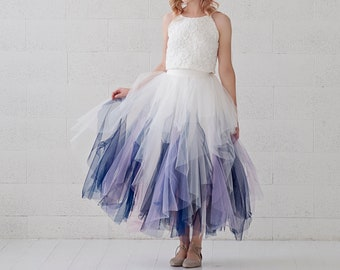 Galaxia - whimsical short tulle wedding dress / simple micro wedding dress / bridesmaids outfit / prom dress / galaxy themed tulle dress