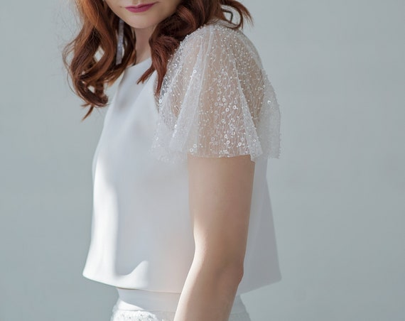 Francine - bridal crop top with wide beaded sheer sleeves