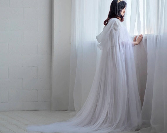 Ethereal - bridal cloak / wedding cape / bridal cape / tulle bridal cloak / wedding cloak / unique bridal cover up / veil alternative