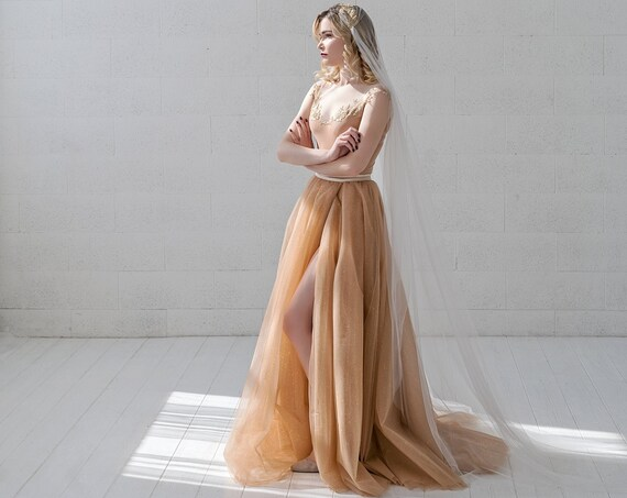Millaray - sparkly gold glitter wedding dress / off the shoulder illusion bridal gown / nude wedding dress / non traditional wedding dress