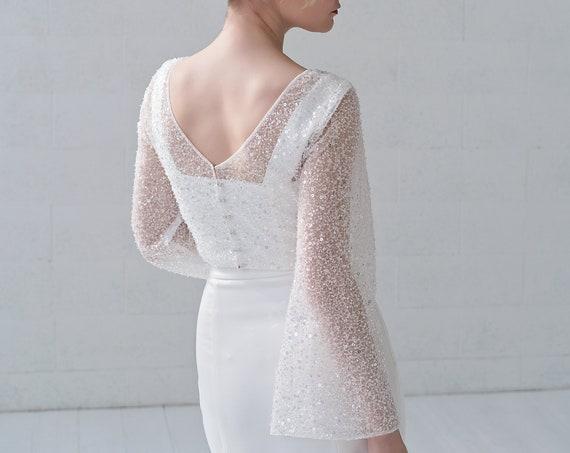 Gabrielle - sparkly sequins bridal topper